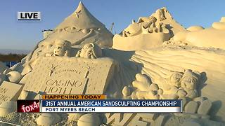 The American Sandsculpting Championship begins on Fort Myers Beach - 7am live report - Video