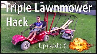 Triple Lawnmower Go-Kart Hack - MacScienceGuy Episode 5 - Macgyver- Make Science Fun - Video