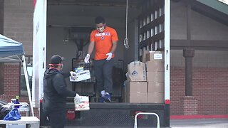 Local church hosts food drive with the help of BSU football players