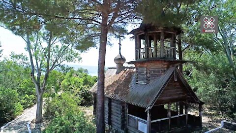 Rare drone footage of Siberian style wooden chapel in Greece