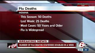 Indiana flu deaths double during first week of 2018 to 50 - Video