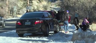 Tickets being handed out on Mount Charleston