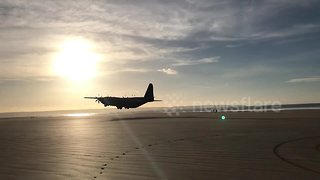 Incredible video shows a Hercules plane taking off from a British beach