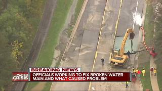 Officials working to fix broken water main and determine what caused the problem - Video