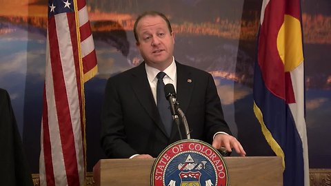 Gov. Jared Polis announces new state logo at press briefing