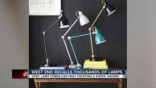 Table lamps recalled due to shock hazard - Video