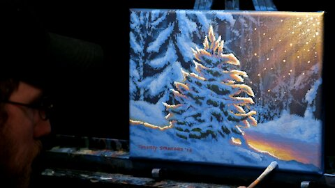 Acrylic Landscape Painting of a Snow Covered Tree - Time Lapse - Artist Timothy Stanford