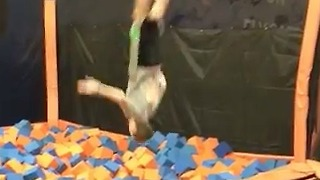 Trampoline Park Backflip Gone Wrong - Video