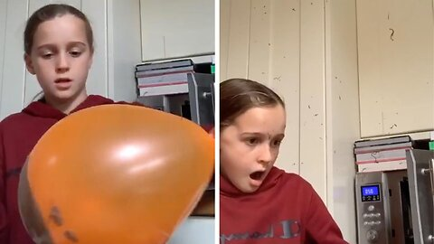 Chocolate covered balloon explodes In girl's face