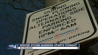 City of Milwaukee DPW calls for special overnight snow removal operation during Winter Storm Warning - Video