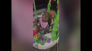 Sleepy Baby can't Keep her Eyes Open While Playing! - Video