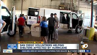 San Diego volunteers helping shelters affected by Hurricane Harvey - Video