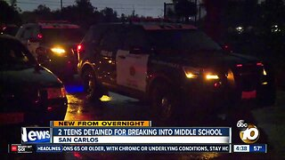 2 teens detained after reported middle school break-in