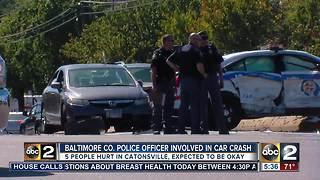 Baltimore County Police officer involved in four car crash - Video