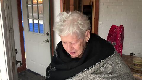 'I Can't Believe It!' 96 Year Old Delighted to See First Snow in Many Years