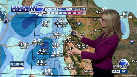 Storm moves out of Colorado later today, but another one is set to hit on Sunday