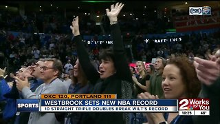 Russell Westbrook sets NBA-record with 10th straight triple double in 120-111 Thunder win over Portland