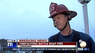 Firefighters battle boat fire