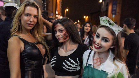Revellers take to Birmingham broad street for Halloween night out