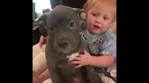Baby Girl Can't Stop Hugging Her Puppy