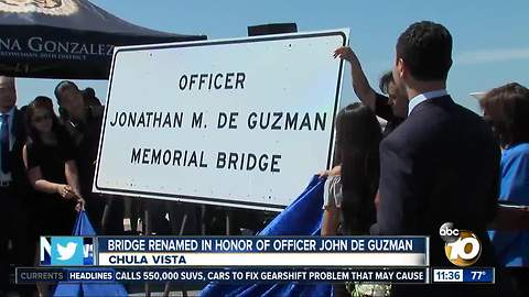 Bridge over I-805 in Chula Vista dedicated to fallen officer