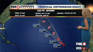 Tropical Depression 8 forms in the Atlantic, no threat to land