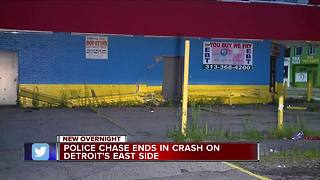 Police chase ends in crash on Detroit's east side - Video
