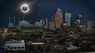 Total Solar Eclipse over Downtown Kansas City - Video