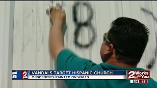 Vandals target hispanic church - Video