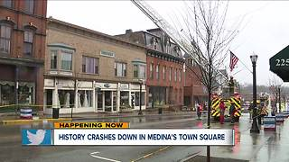 Medina Square businesses closed after historic building partially collapses - Video
