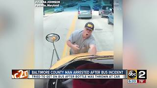 Man arrested after jumping on the hood of a school bus