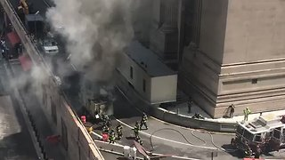 Fire Burns Outside New York's Grand Central Terminal - Video