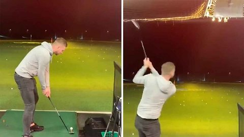 Fore god's sake: Golfer breaks lights with wayward shot at driving range