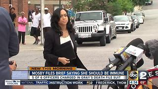 Mosby says she's immune from officers' lawsuit