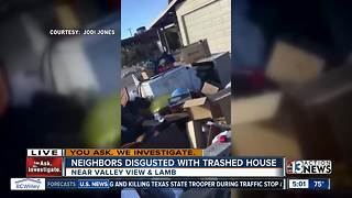 Neighbors disgusted with trashed house - Video