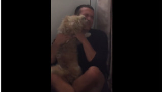 Ecstatic dog can't stop jumping on owner after days apart