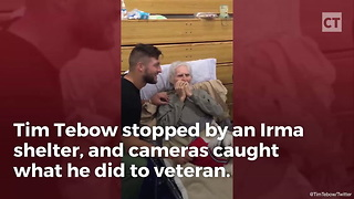 Tim Tebow Visits Irma Victim and Veteran - Video