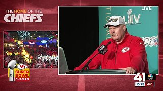Chiefs head coach Andy Reid reacts to first Super Bowl win
