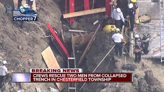 Crews rescue two men from collapsed trench in Chesterfield Township - Video