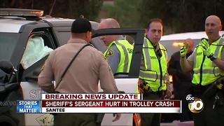 Sheriff's sergeant hurt in trolley crash - Video