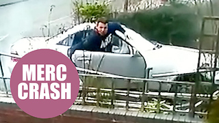 Mercedes driver caught on CCTV smashing convertible into house - Video