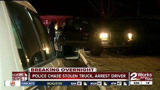 Driver arrested after leading police on chase in stolen truck - Video