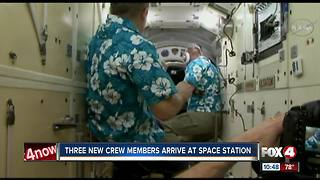 Crews are welcomed aboard space station - Video
