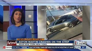 Aston Martin crashes on Las Vegas Strip