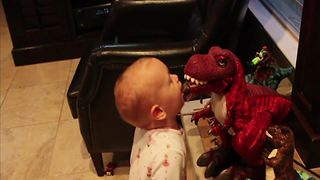 Tot Boy Picks Up A Fight With T-Rex - Video