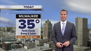 Mostly sunny today with a high of 35