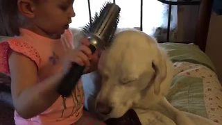 Sweet little girl pampers her canine friend