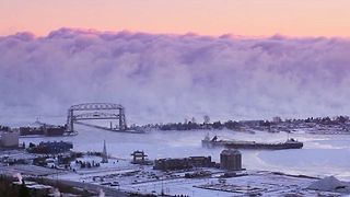 Dramatic Video Shows a Wall of Sea Smoke Rolling Through Duluth Harbor - Video