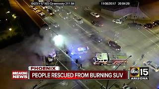 Serious fiery crash between two SUVs in Phoenix - Video