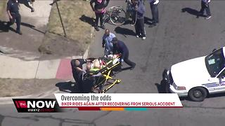 Bicyclist rides again after recovering from serious accident - Video